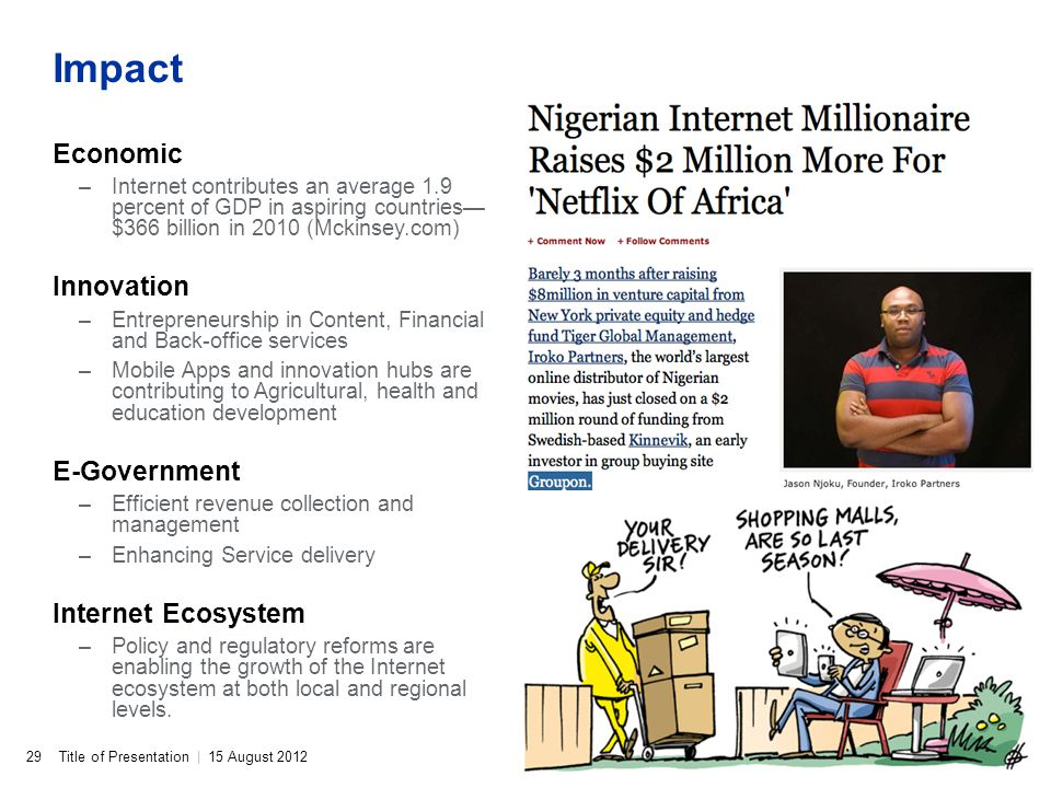 Title of Presentation | 15 August 2012 Impact Economic –Internet contributes an average 1.9 percent of GDP in aspiring countries $366 billion in 2010