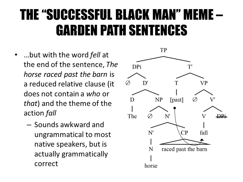 THE SUCCESSFUL BLACK MAN MEME – GARDEN PATH SENTENCES …but with the word fell at the end of the sentence, The horse raced past the barn is a reduced r