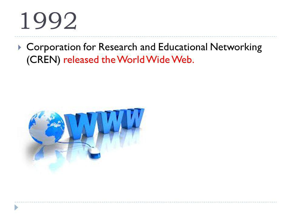 1992 Corporation for Research and Educational Networking (CREN) released the World Wide Web.