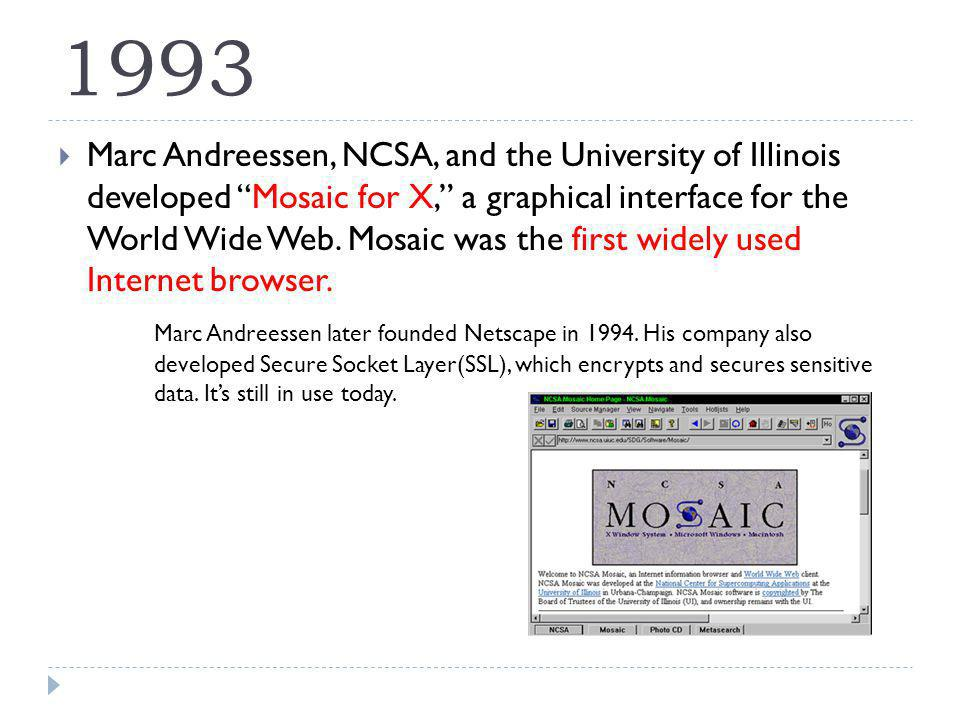 1993 Marc Andreessen, NCSA, and the University of Illinois developed Mosaic for X, a graphical interface for the World Wide Web.