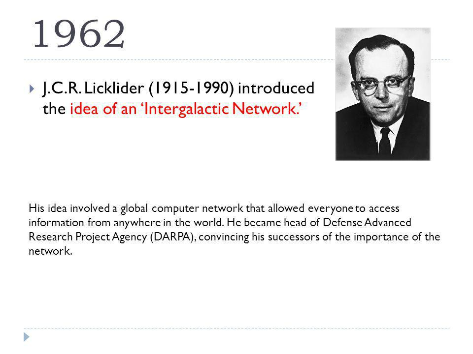 1962 J.C.R. Licklider (1915-1990) introduced the idea of an Intergalactic Network.