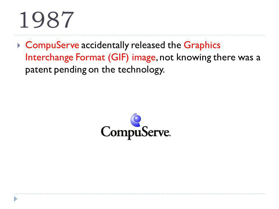 1987 CompuServe accidentally released the Graphics Interchange Format (GIF) image, not knowing there was a patent pending on the technology.
