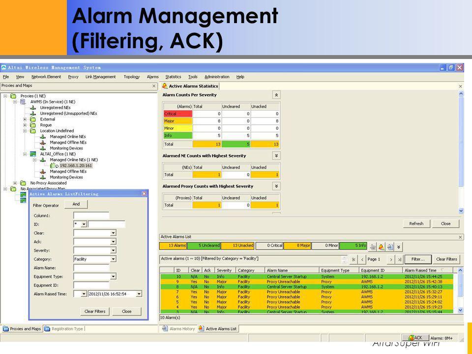 Altai Super WiFi Not for Distribution – Altai Confidential Alarm Management (Filtering, ACK)