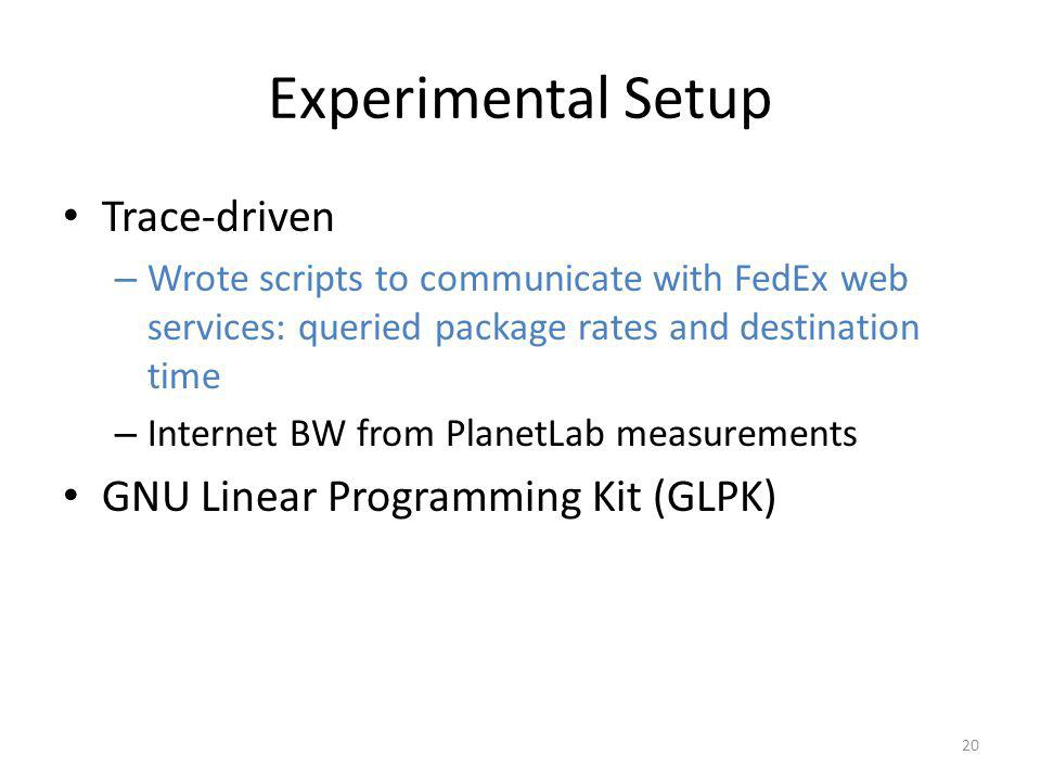 Experimental Setup Trace-driven – Wrote scripts to communicate with FedEx web services: queried package rates and destination time – Internet BW from PlanetLab measurements GNU Linear Programming Kit (GLPK) 20