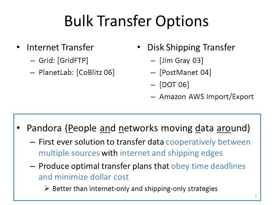 Conclusion First ever solution to transfer data cooperatively between multiple sources with internet and shipping edges Produce optimal transfer plans that obey time deadlines and minimize dollar cost Better than internet-only and shipping-only strategies Reasonable computation time by using optimizations 24