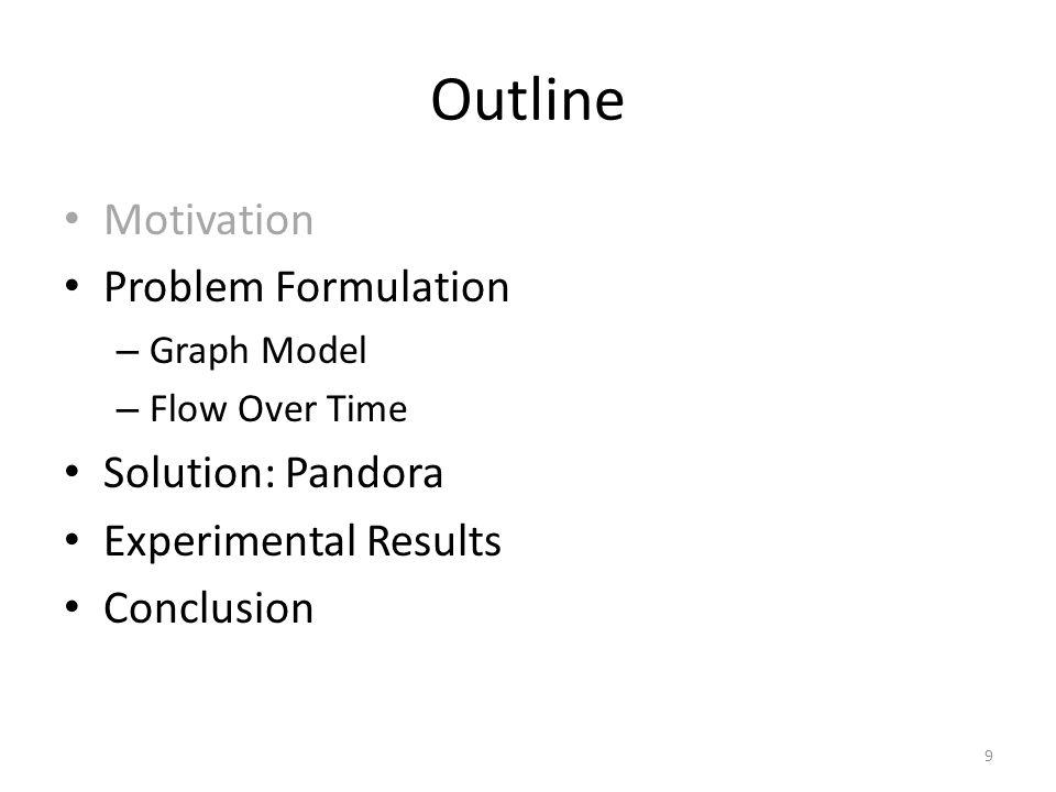 Outline Motivation Problem Formulation – Graph Model – Flow Over Time Solution: Pandora Experimental Results Conclusion 9