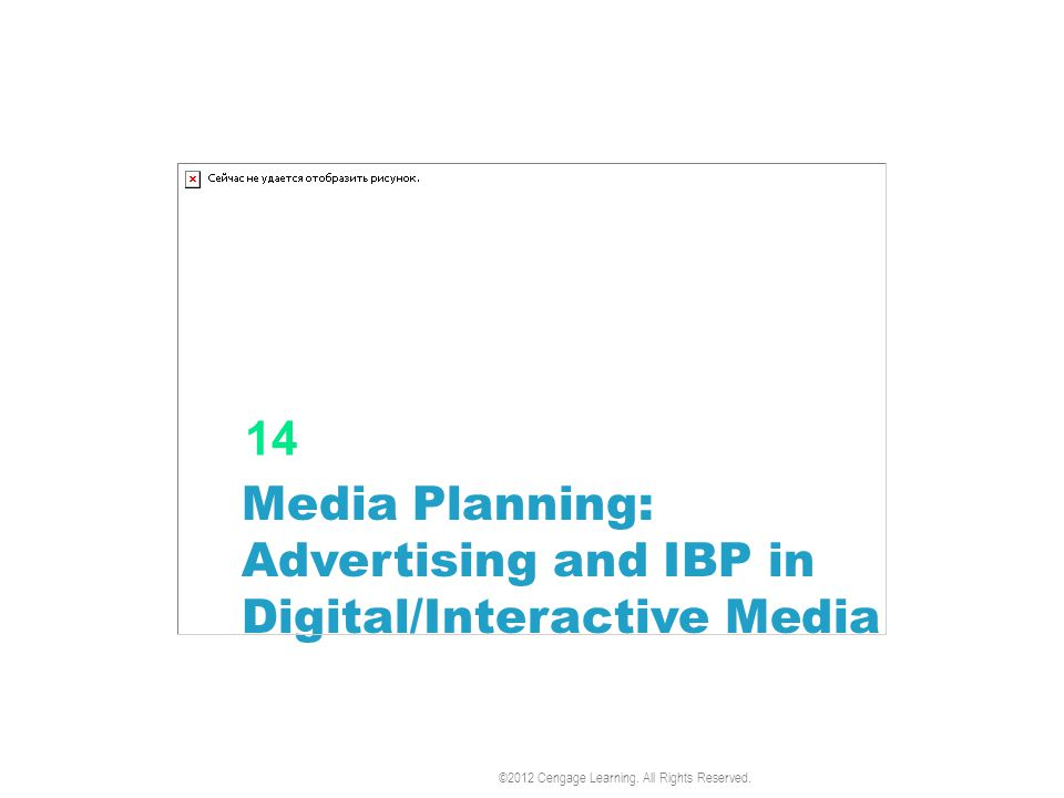 Media Planning: Advertising and IBP in Digital/Interactive Media 14 ©2012 Cengage Learning.