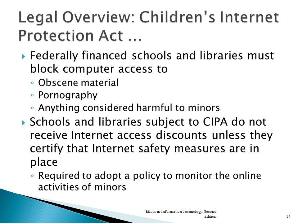 Federally financed schools and libraries must block computer access to Obscene material Pornography Anything considered harmful to minors Schools and