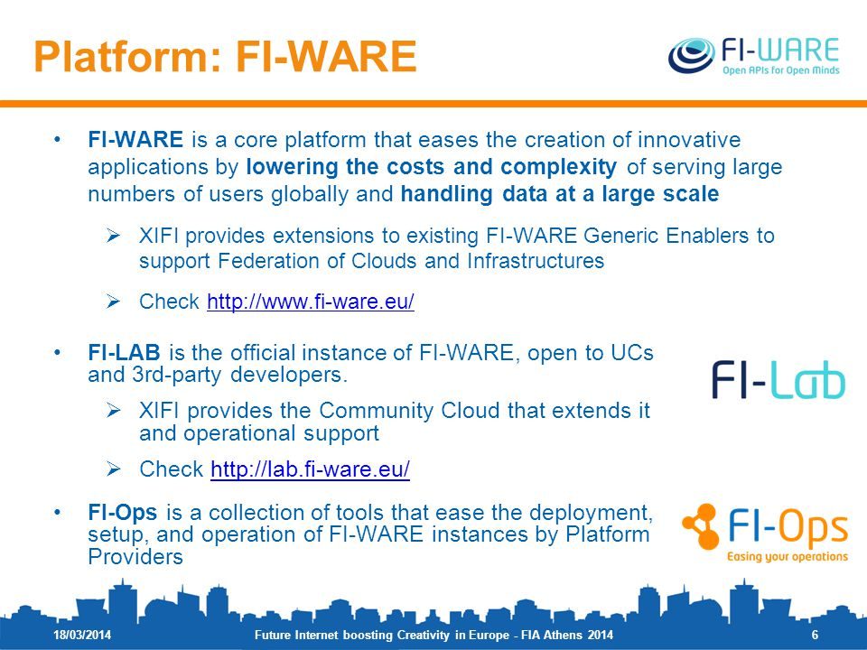 FI-WARE is a core platform that eases the creation of innovative applications by lowering the costs and complexity of serving large numbers of users g