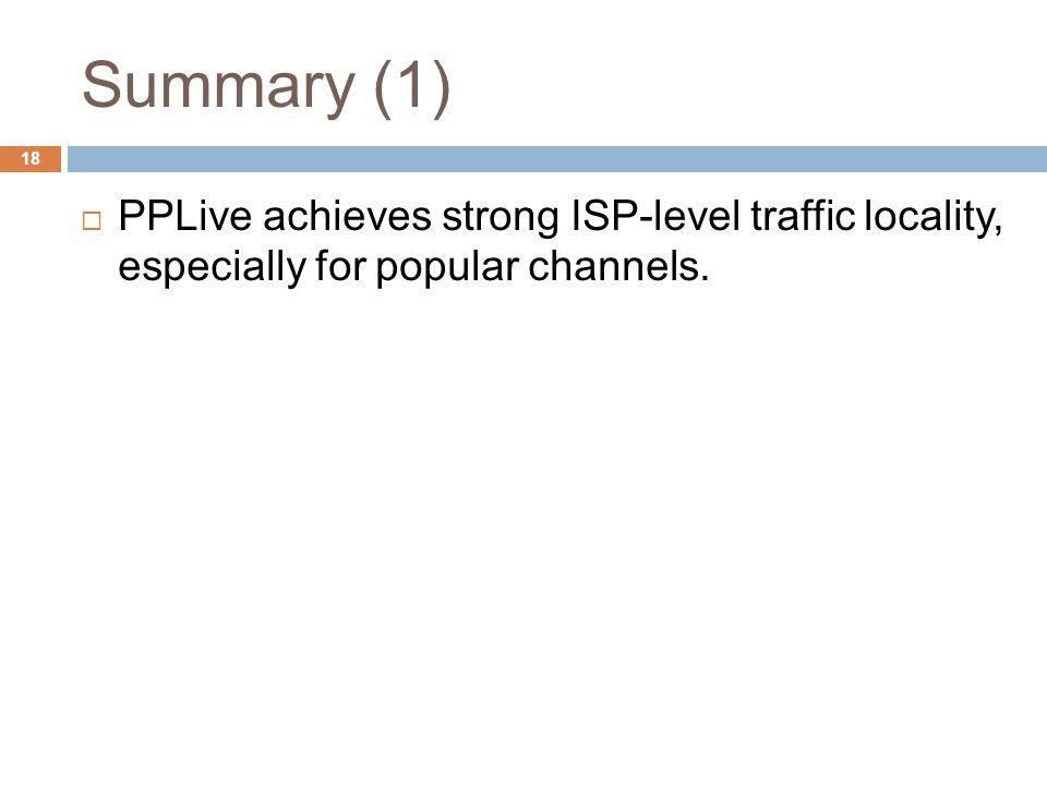 Summary (1) PPLive achieves strong ISP-level traffic locality, especially for popular channels. 18