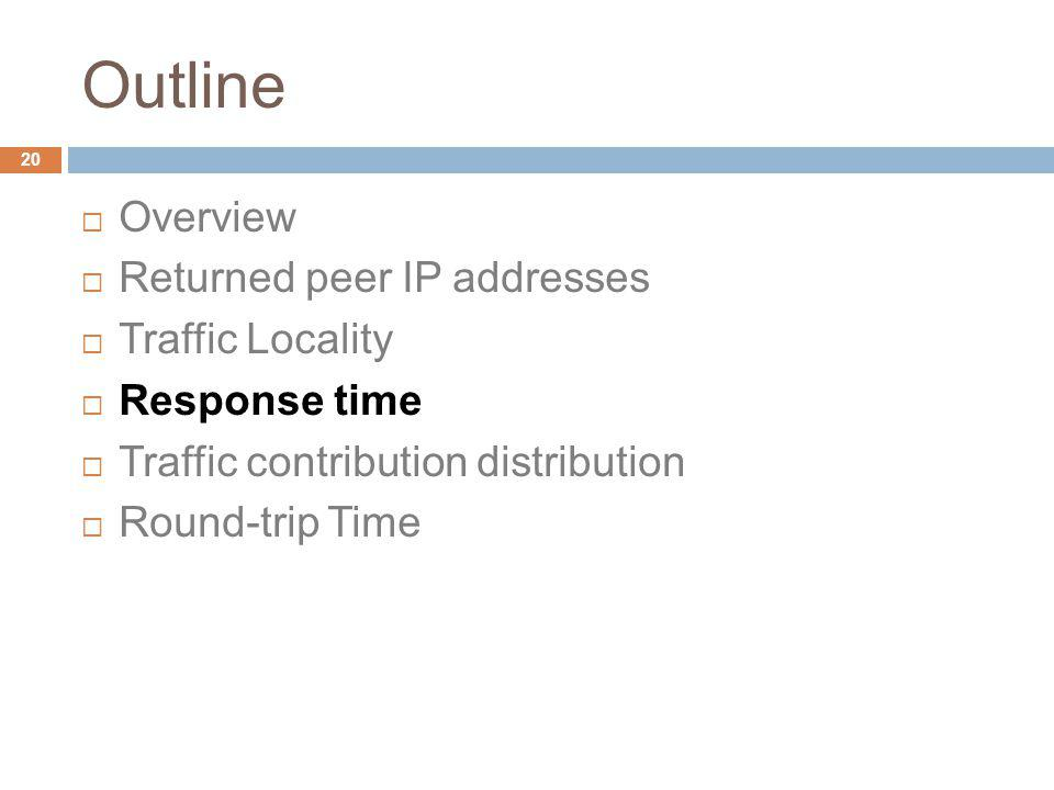 Outline Overview Returned peer IP addresses Traffic Locality Response time Traffic contribution distribution Round-trip Time 20