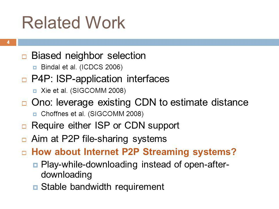 Related Work Biased neighbor selection Bindal et al. (ICDCS 2006) P4P: ISP-application interfaces Xie et al. (SIGCOMM 2008) Ono: leverage existing CDN