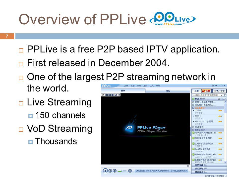 Overview of PPLive 7 PPLive is a free P2P based IPTV application. First released in December 2004. One of the largest P2P streaming network in the wor