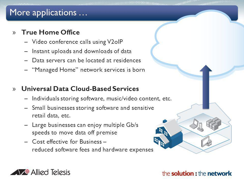 More applications … » True Home Office –Video conference calls using V2oIP –Instant uploads and downloads of data –Data servers can be located at residences –Managed Home network services is born » Universal Data Cloud-Based Services –Individuals storing software, music/video content, etc.