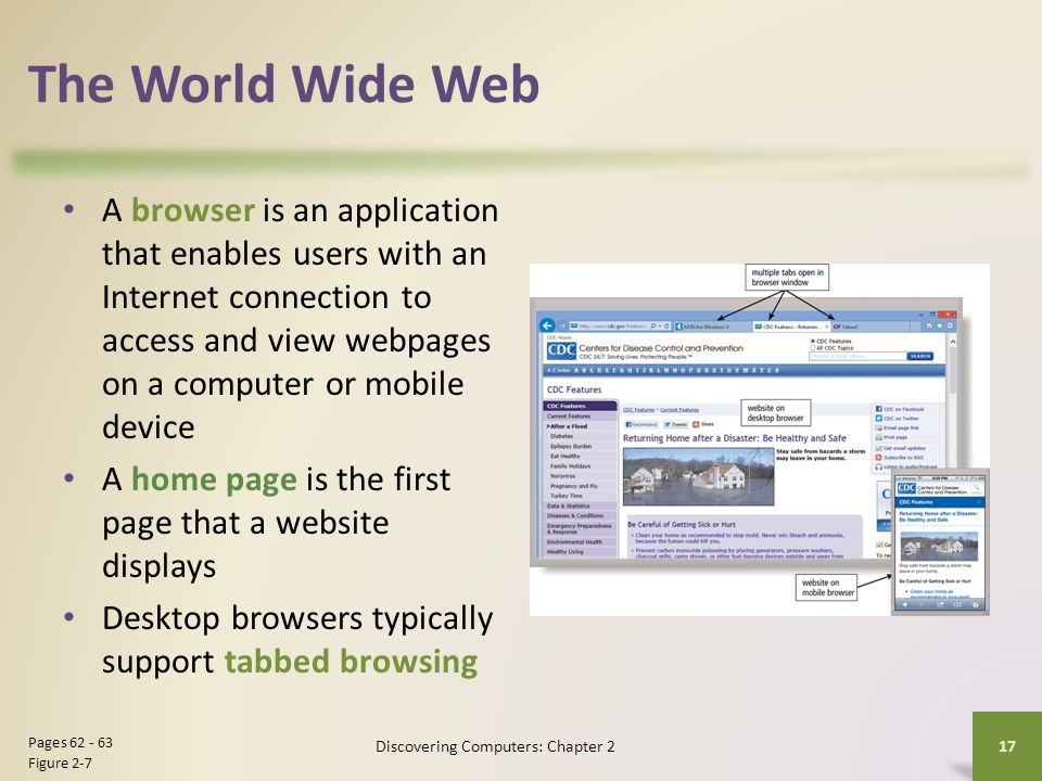 The World Wide Web A browser is an application that enables users with an Internet connection to access and view webpages on a computer or mobile devi