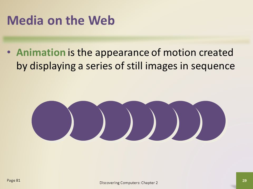 Media on the Web Animation is the appearance of motion created by displaying a series of still images in sequence Discovering Computers: Chapter 2 29