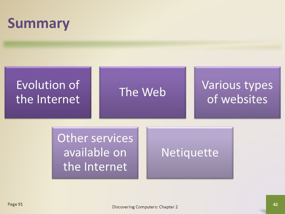 Summary Evolution of the Internet The Web Various types of websites Other services available on the Internet Netiquette Discovering Computers: Chapter