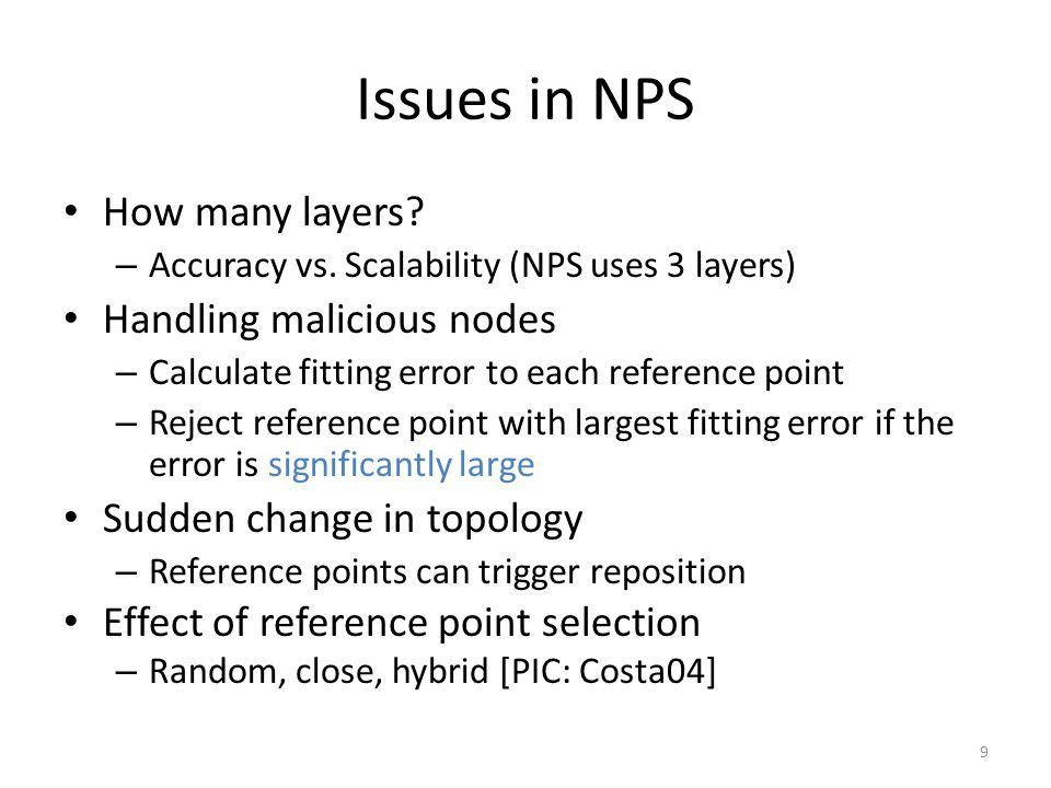 Issues in NPS How many layers. – Accuracy vs.