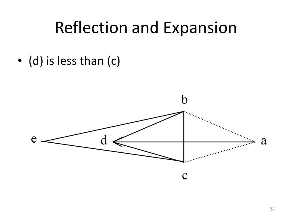 Reflection and Expansion (d) is less than (c) 34