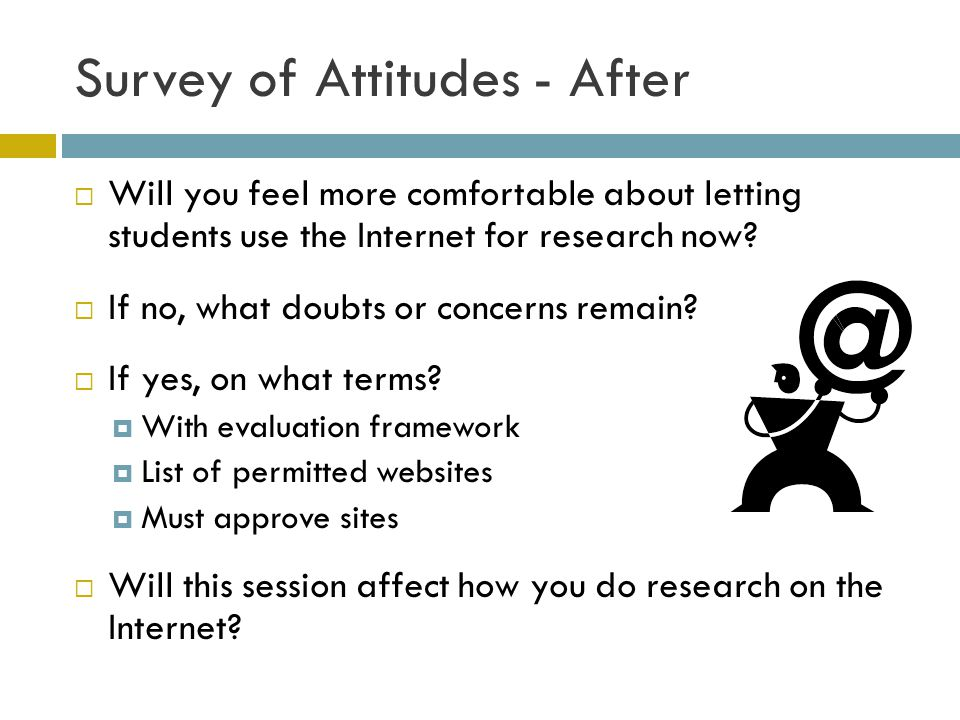 Survey of Attitudes - After Will you feel more comfortable about letting students use the Internet for research now.