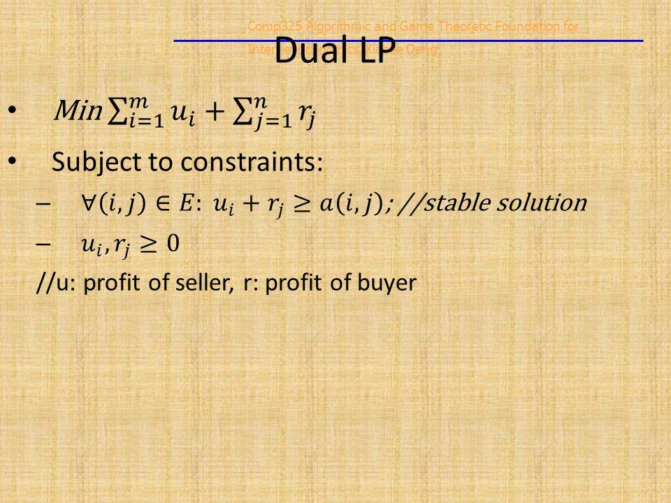 Comp325 Algorithmic and Game Theoretic Foundation for Internet Economics/Xiaotie Deng Dual LP