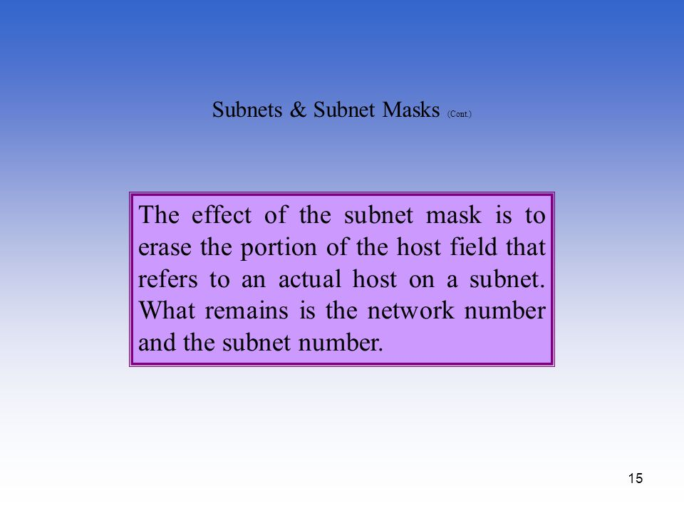 15 The effect of the subnet mask is to erase the portion of the host field that refers to an actual host on a subnet. What remains is the network numb