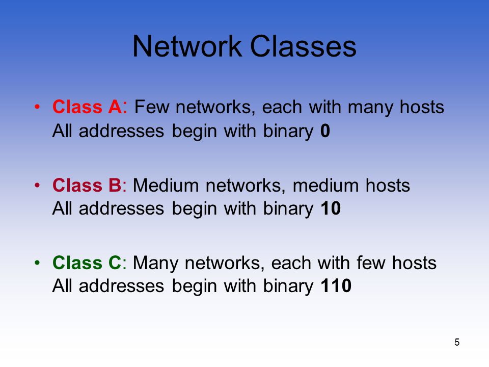 5 Network Classes Class A : Few networks, each with many hosts All addresses begin with binary 0 Class B: Medium networks, medium hosts All addresses