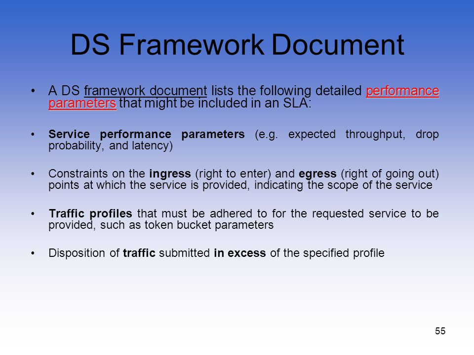 55 DS Framework Document performance parametersA DS framework document lists the following detailed performance parameters that might be included in a