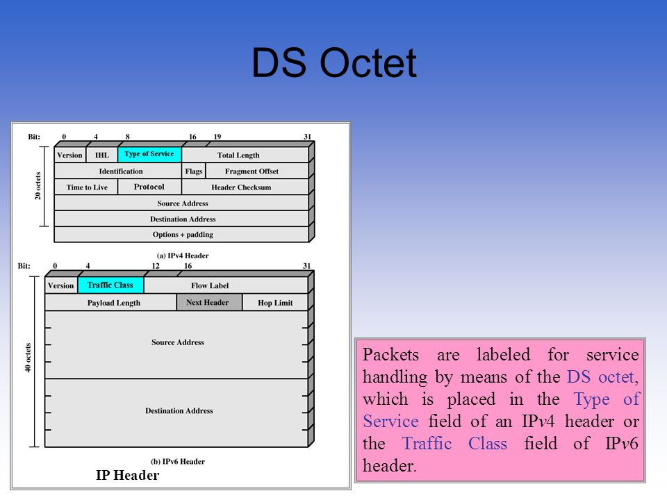 57 DS Octet Packets are labeled for service handling by means of the DS octet, which is placed in the Type of Service field of an IPv4 header or the T