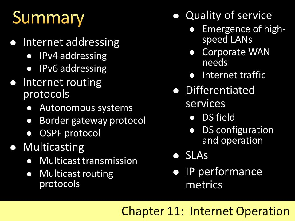 Internet addressing IPv4 addressing IPv6 addressing Internet routing protocols Autonomous systems Border gateway protocol OSPF protocol Multicasting M