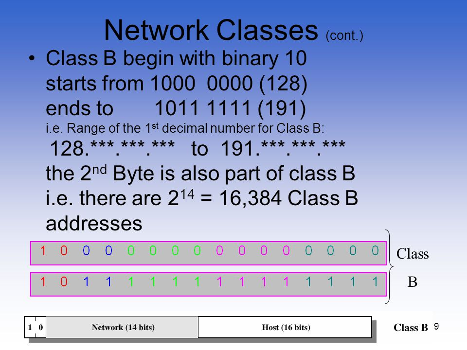 9 Network Classes (cont.) Class B begin with binary 10 starts from 1000 0000 (128) ends to 1011 1111 (191) i.e. Range of the 1 st decimal number for C