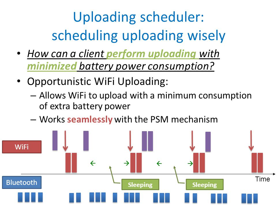 How can a client perform uploading with minimized battery power consumption.