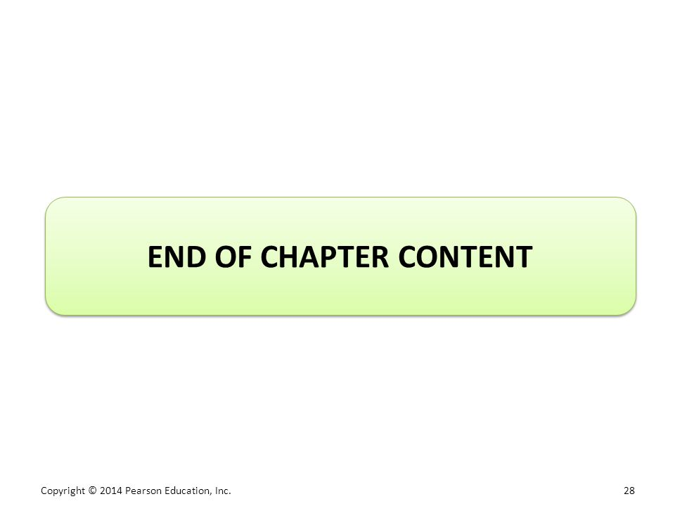 Copyright © 2014 Pearson Education, Inc. 28 END OF CHAPTER CONTENT