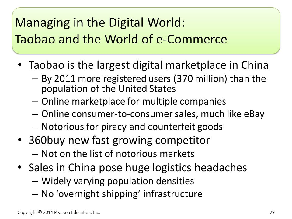 Copyright © 2014 Pearson Education, Inc. 29 Managing in the Digital World: Taobao and the World of e-Commerce Taobao is the largest digital marketplac