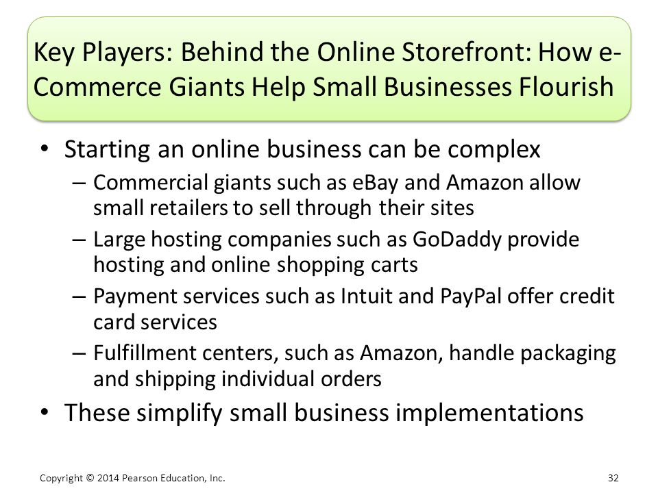 Copyright © 2014 Pearson Education, Inc. 32 Key Players: Behind the Online Storefront: How e- Commerce Giants Help Small Businesses Flourish Starting
