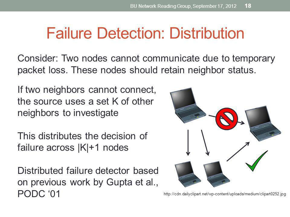 Failure Detection: Distribution Consider: Two nodes cannot communicate due to temporary packet loss. These nodes should retain neighbor status. If two