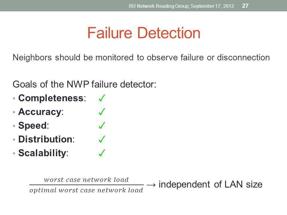 Failure Detection BU Network Reading Group, September 17, 2012 27