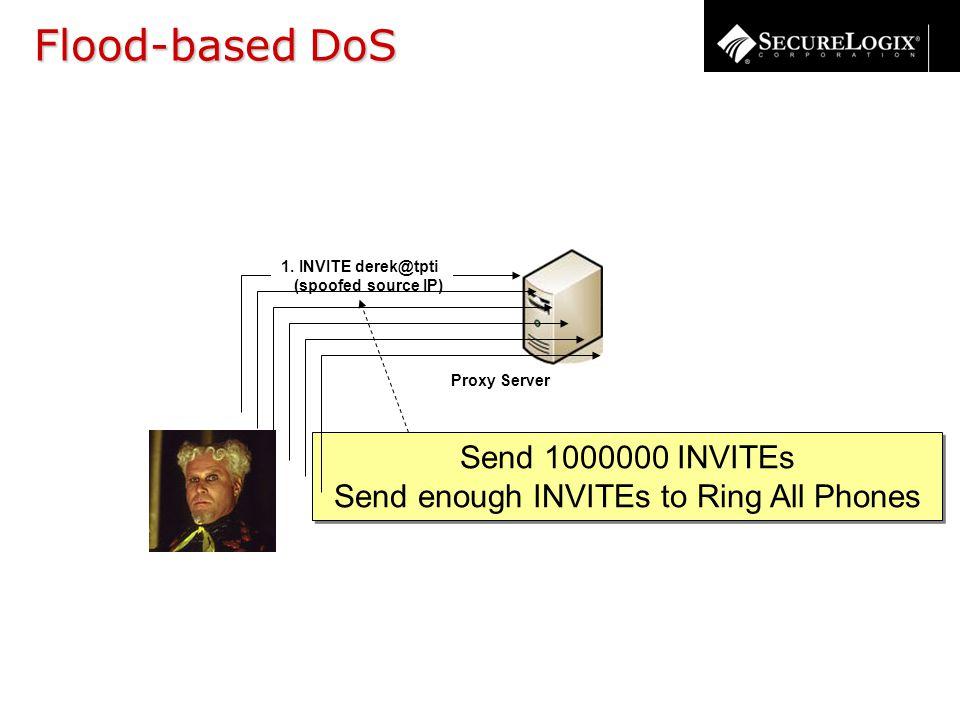 1. INVITE derek@tpti (spoofed source IP) Proxy Server Send 1000000 INVITEs Send enough INVITEs to Ring All Phones Send 1000000 INVITEs Send enough INV