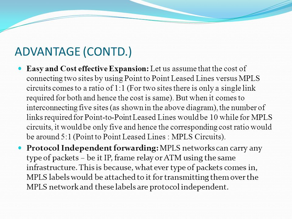 ADVANTAGE (CONTD.) Easy and Cost effective Expansion: Let us assume that the cost of connecting two sites by using Point to Point Leased Lines versus