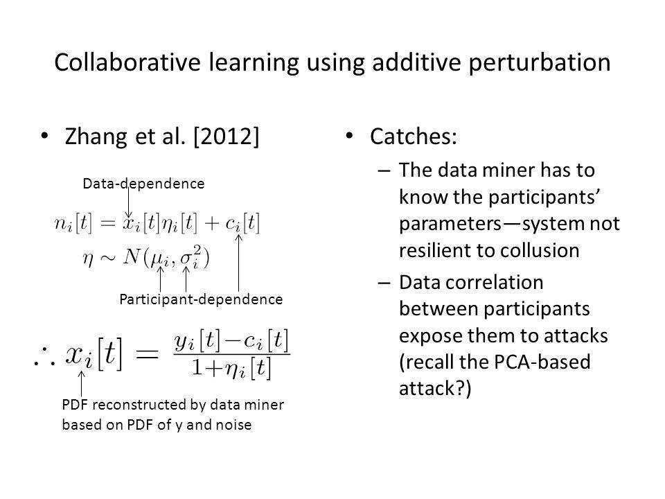 Collaborative learning using additive perturbation Zhang et al.
