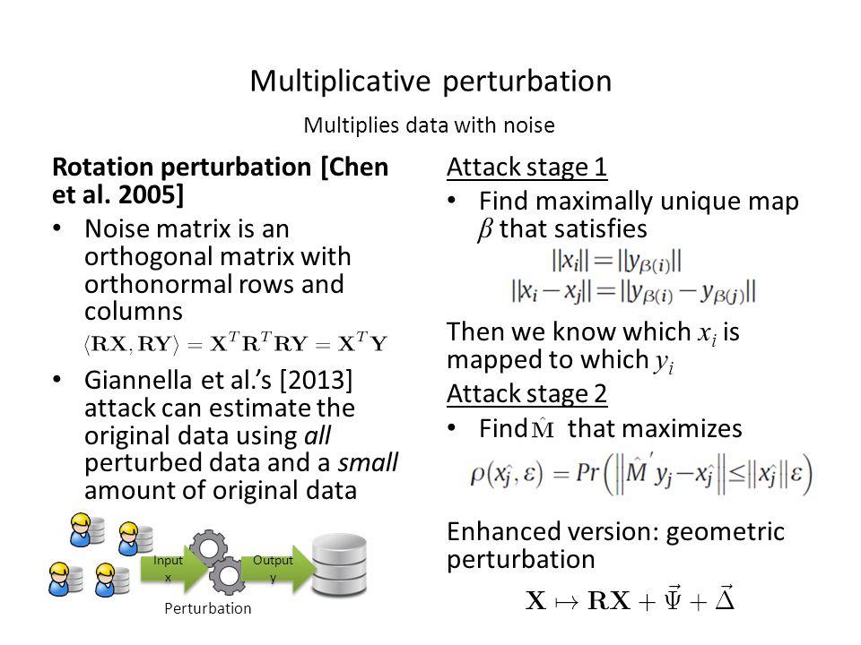 Multiplicative perturbation Rotation perturbation [Chen et al.