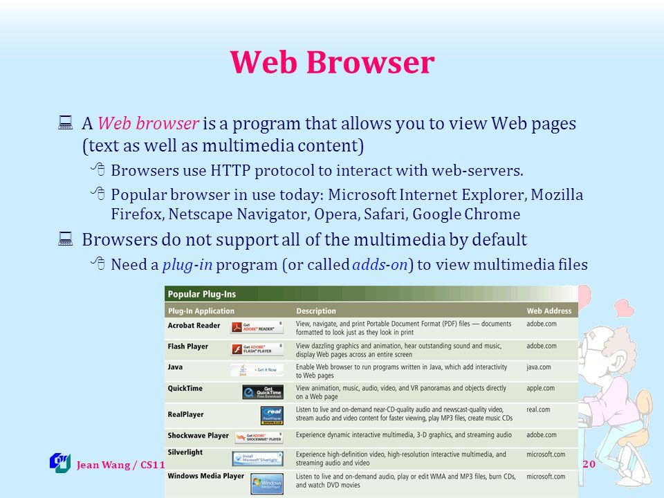 20 Web Browser A Web browser is a program that allows you to view Web pages (text as well as multimedia content) Browsers use HTTP protocol to interac