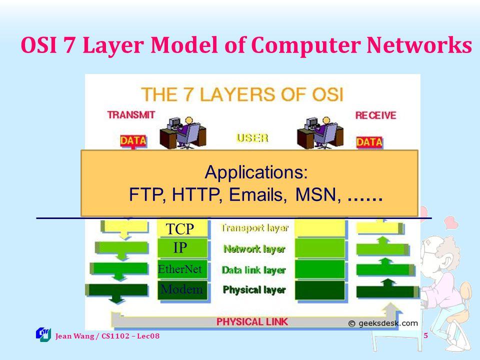 Other Internet Services Instant messaging (IM): server + clients 26 Jean Wang / CS1102 - Lec09