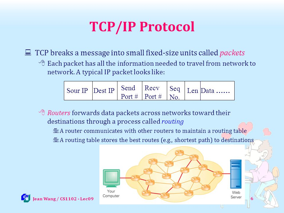 17 POP3 & IMAP POP3 stands for Post Office Protocol version 3, and IMAP for Internet Message Access Protocol POP3/IMAP act like mailbox, specifies where emails should be delivered to and stored until recipients coming to read They are used by local email-client (such as outlook) to retrieve emails from the mail-server POP3 retrieves all emails from the server to the client whenever a user accesses his email account and all emails are stored at the client IMAP displays the list of emails in mailbox and retrieves only the emails user chooses to read (all emails are still and always stored at server) IMAP is getting more popular than POP3 as people use iphone or mobile device to read emails: Allow partial download of big emails (e.g.