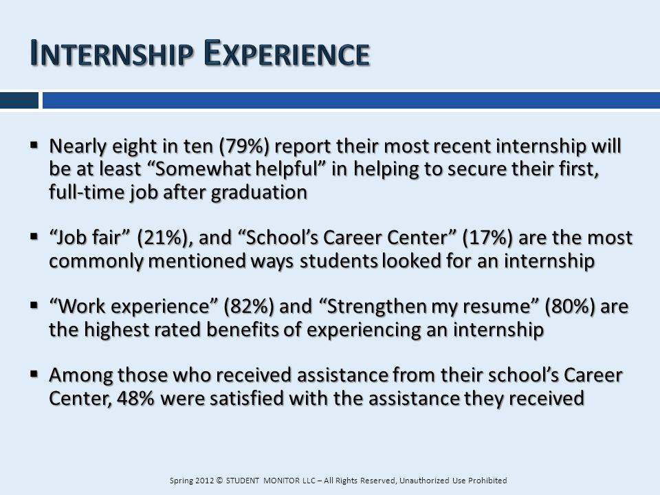Nearly eight in ten (79%) report their most recent internship will be at least Somewhat helpful in helping to secure their first, full-time job after