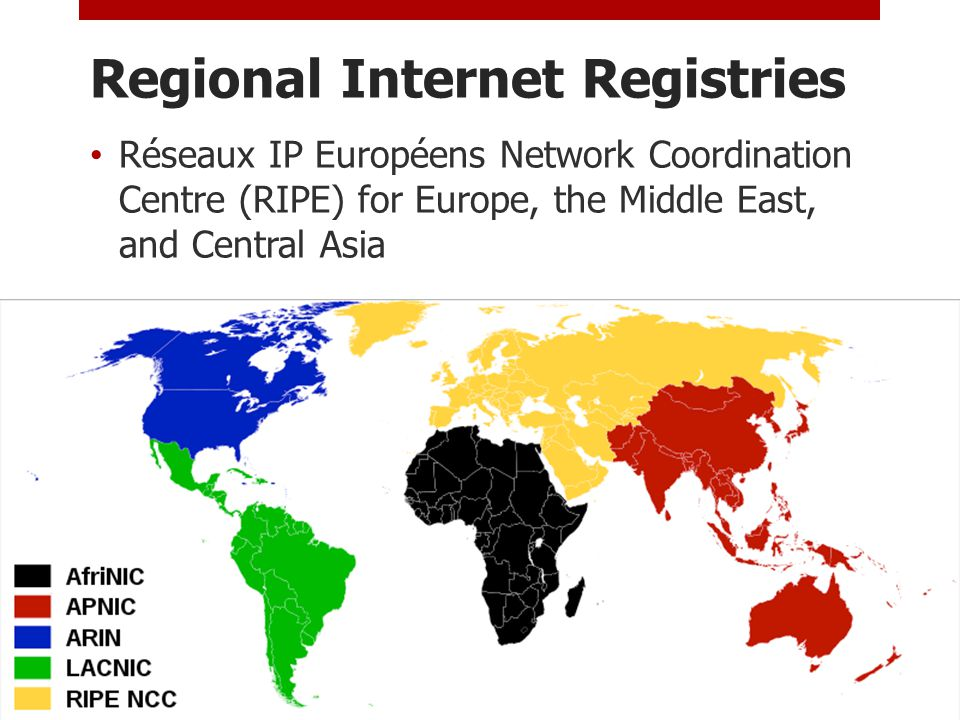 Regional Internet Registries Réseaux IP Européens Network Coordination Centre (RIPE) for Europe, the Middle East, and Central Asia