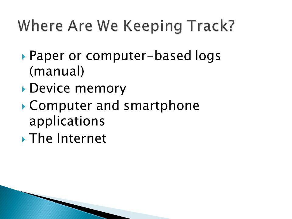 Paper or computer-based logs (manual) Device memory Computer and smartphone applications The Internet