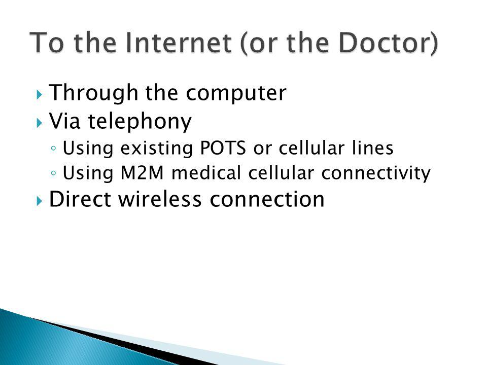 Through the computer Via telephony Using existing POTS or cellular lines Using M2M medical cellular connectivity Direct wireless connection