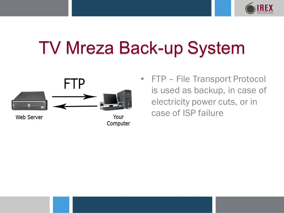TV Mreza Back-up System FTP – File Transport Protocol is used as backup, in case of electricity power cuts, or in case of ISP failure