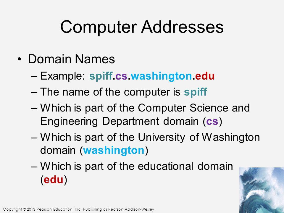Copyright © 2013 Pearson Education, Inc. Publishing as Pearson Addison-Wesley Computer Addresses Domain Names –Example: spiff.cs.washington.edu –The n